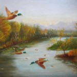 Ducks in flight 14X18