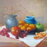 Pewter with fruit 12X16