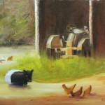 Belted Galloway with Tractor 9x12