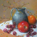 Pewter with Fruit 9x12